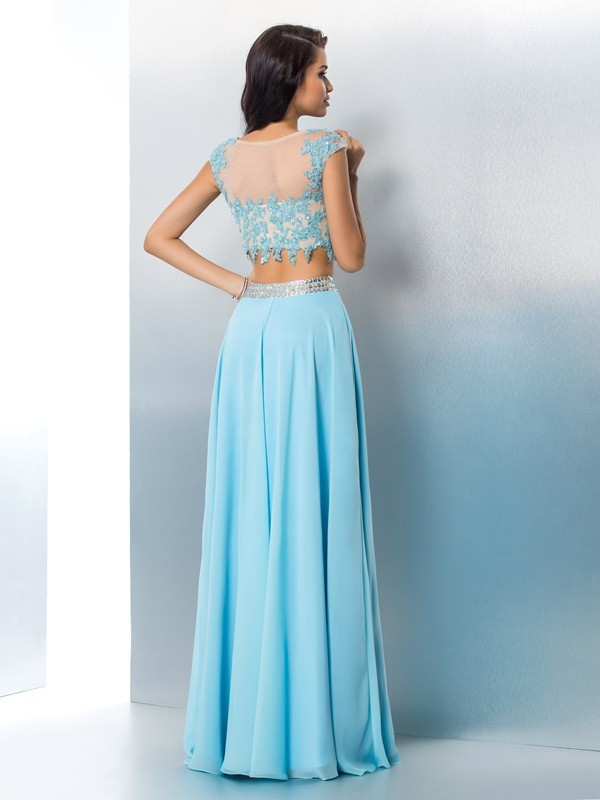 Nice A-Line Sheer Neck Short Sleeves Long Chiffon Two Piece Dress