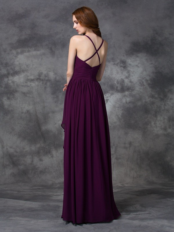 Nice A-Line Spaghetti Straps Sleeveless Long Chiffon Bridesmaid Dress