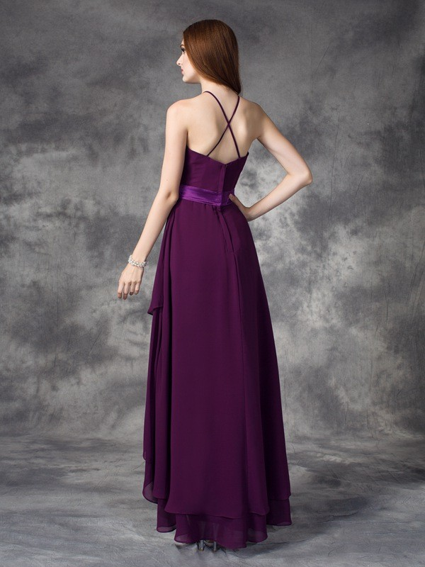 Nice A-Line Halter Sleeveless High Low Chiffon Bridesmaid Dress