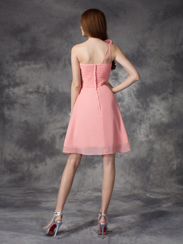 Nice A-Line One-Shoulder Sleeveless Short Chiffon Bridesmaid Dress