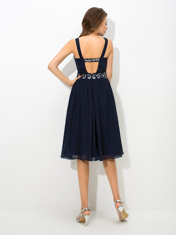 Nice A-Line Straps Sleeveless Short Chiffon Cocktail Dress