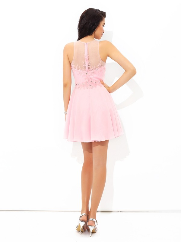 Nice A-Line Sheer Neck Sleeveless Short Chiffon Cocktail Dress