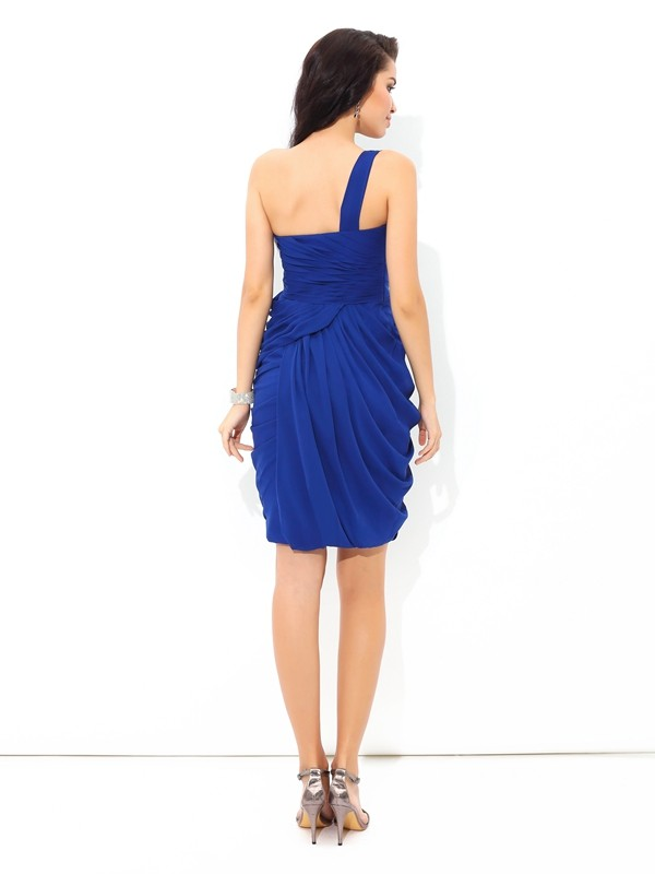 Amazing Sheath One-Shoulder Sleeveless Short Chiffon Cocktail Dress