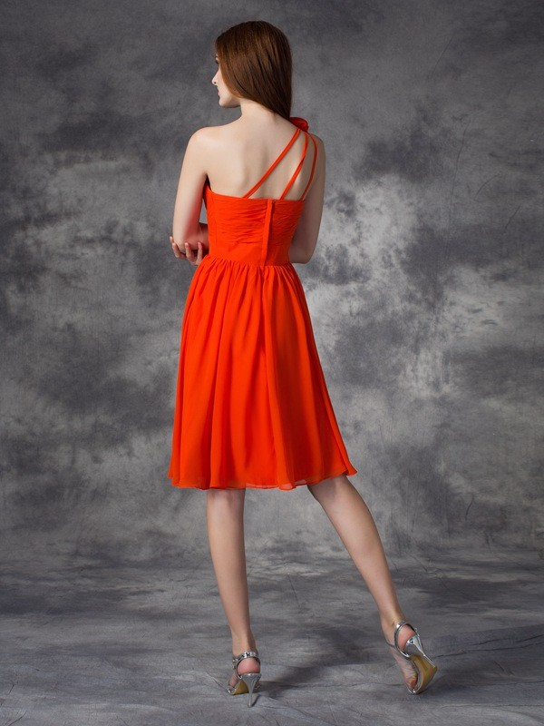 Amazing A-Line One-Shoulder Sleeveless Short Chiffon Dress