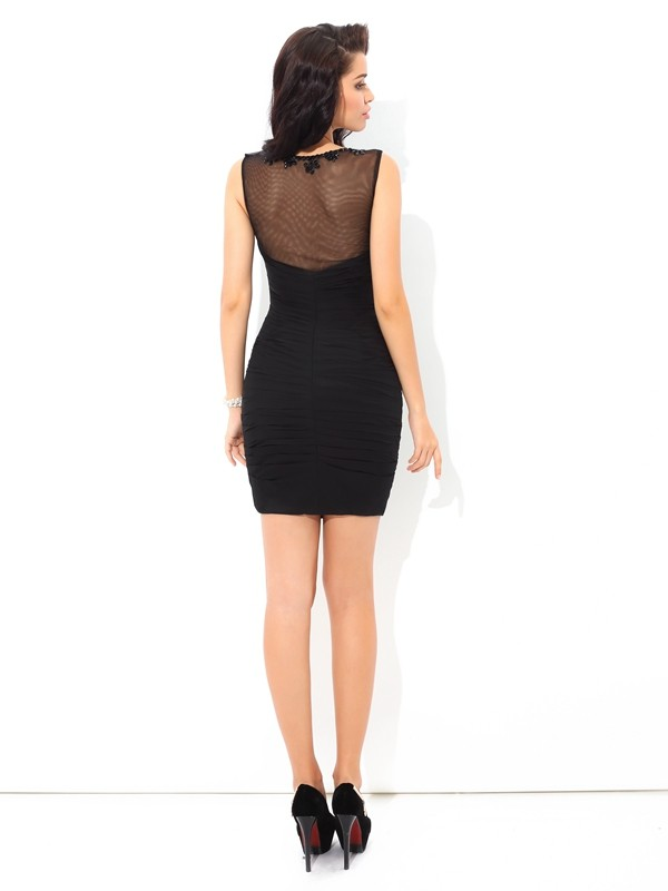 Amazing Sheath Sheer Neck Sleeveless Short Chiffon Cocktail Dress