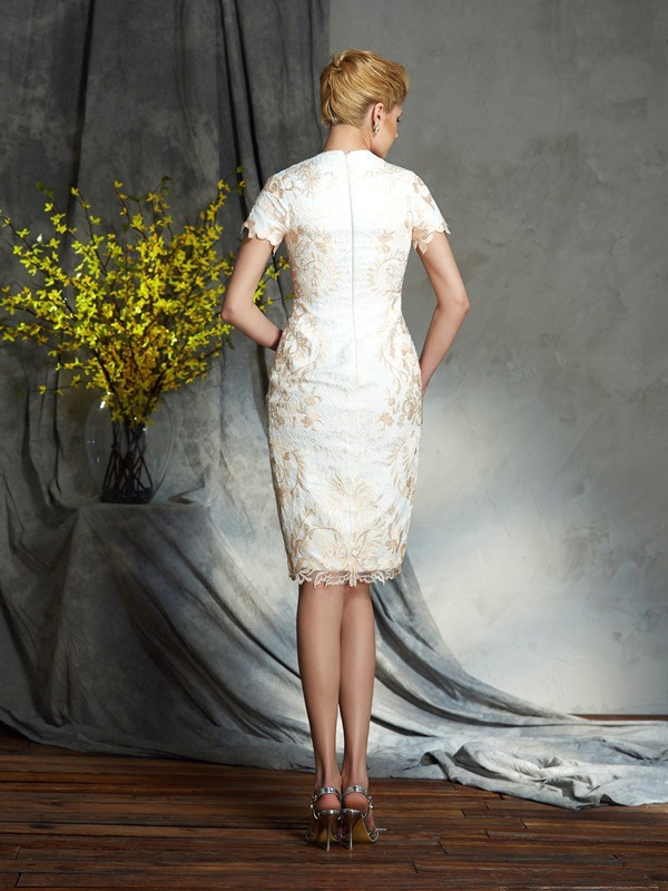Amazing Sheath Jewel Lace Short Sleeves Short Lace Mother of the Bride Dress