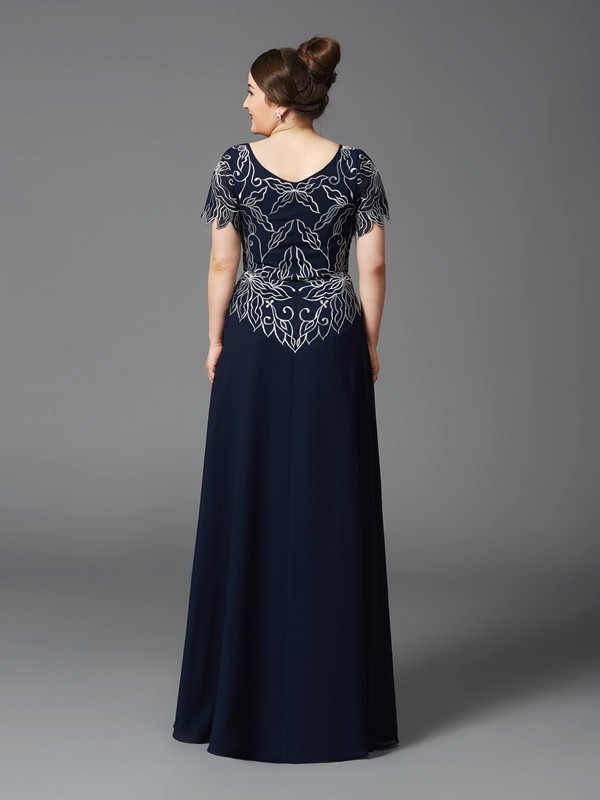 Amazing A-Line Square Short Sleeves Long Chiffon Mother of the Bride Dress