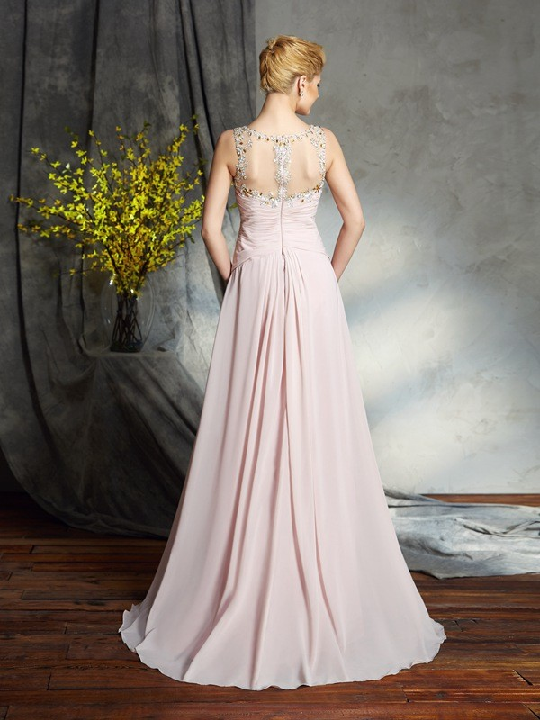 Amazing A-Line Bateau Sleeveless Long Chiffon Mother of the Bride Dress