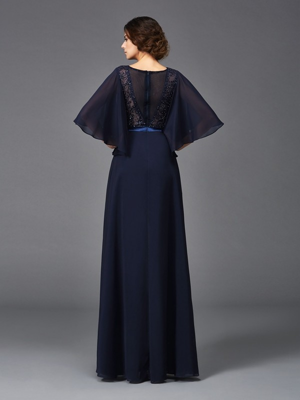Amazing A-Line Scoop 1/2 Sleeves Long Chiffon Mother of the Bride Dress