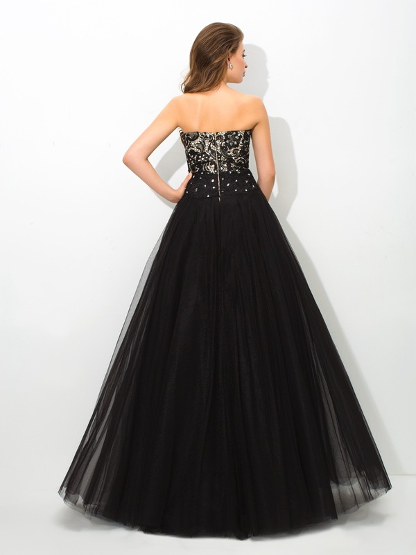 Glamorous Ball Gown Sweetheart Lace Sleeveless Long Net Quinceanera Dress