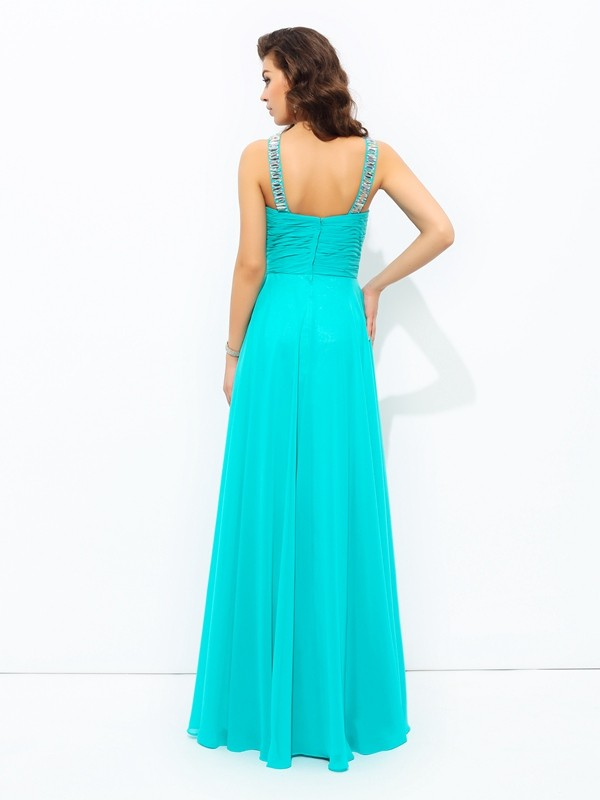 Glamorous A-Line V-neck Sleeveless Long Chiffon Dress