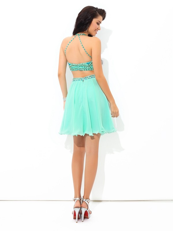 Glamorous A-Line Sheer Neck Sleeveless Short Chiffon Two Piece Dress