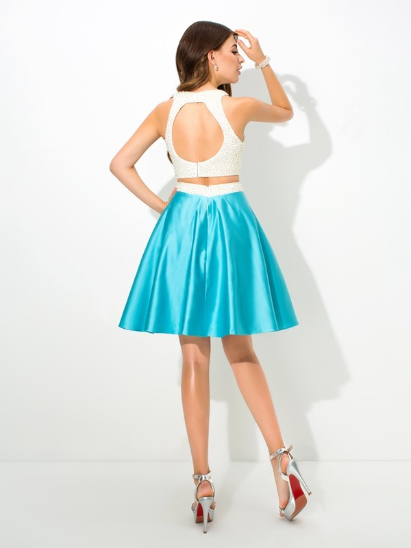 Glamorous A-Line Jersey Sleeveless Short Satin Two Piece Dress