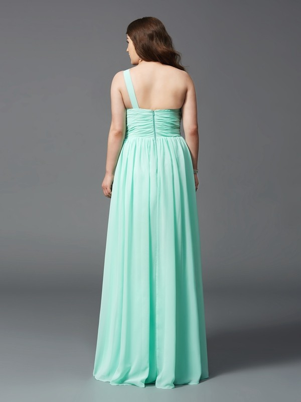 Glamorous A-Line One-Shoulder Sleeveless Long Chiffon Plus Size Dress