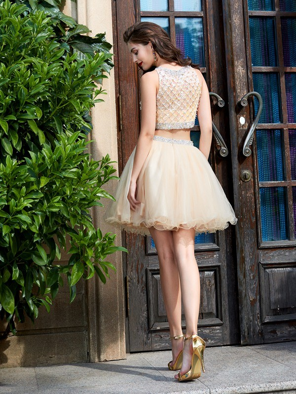 Beautiful A-Line Scoop Net Sleeveless Short/Mini Two Piece Homecoming Dress