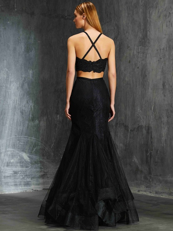 Beautiful Mermaid Spaghetti Straps Sleeveless Floor-Length Net Two Piece Dress