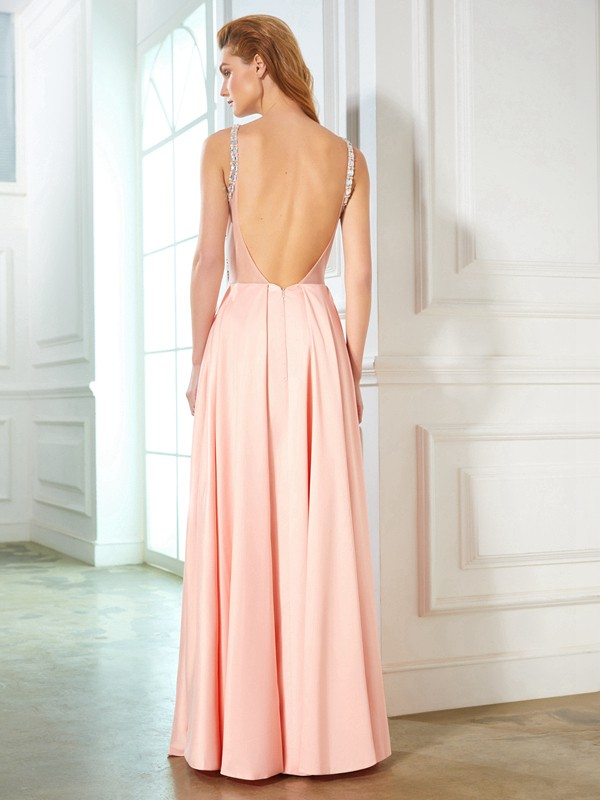 Beautiful A-Line Scoop Sleeveless Satin Floor-Length Dress