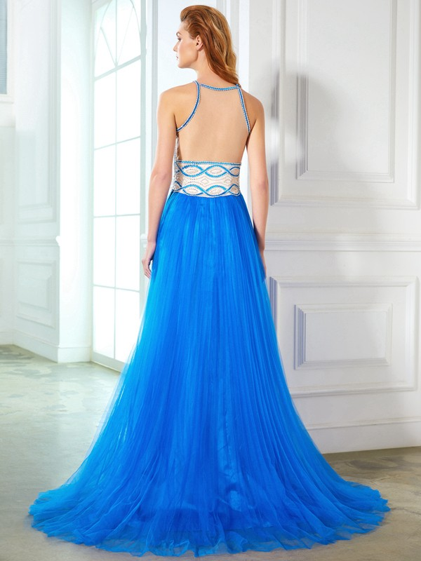 Beautiful A-Line Jewel Sleeveless Floor-Length Net Dress