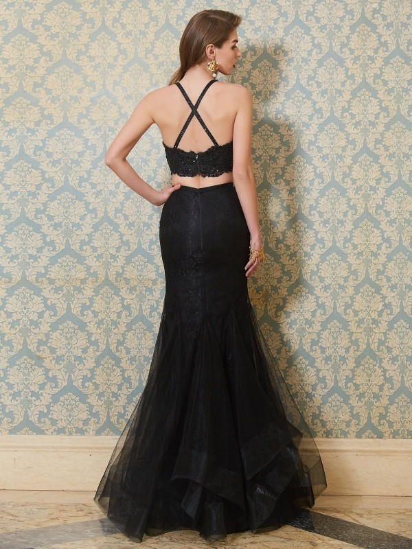 Affordable Mermaid Spaghetti Straps Sleeveless Floor-Length Tulle Two Piece Dress