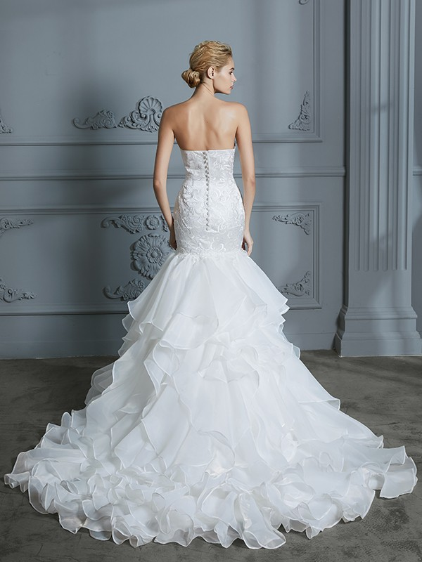 Unique Mermaid Sweetheart Sleeveless Sweep/Brush Train Organza Wedding Dress