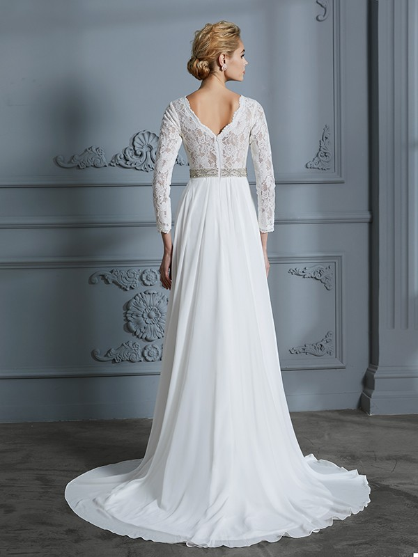 Unique A-Line 3/4 Sleeves V-neck Lace Sweep/Brush Train Chiffon Wedding Dress