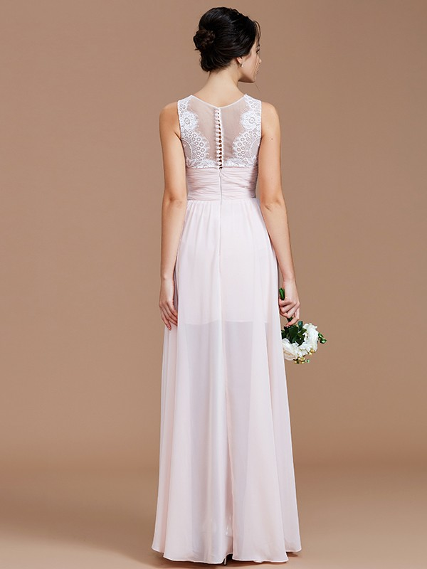 Fancy A-Line Jewel Sleeveless Floor-Length Chiffon Bridesmaid Dress