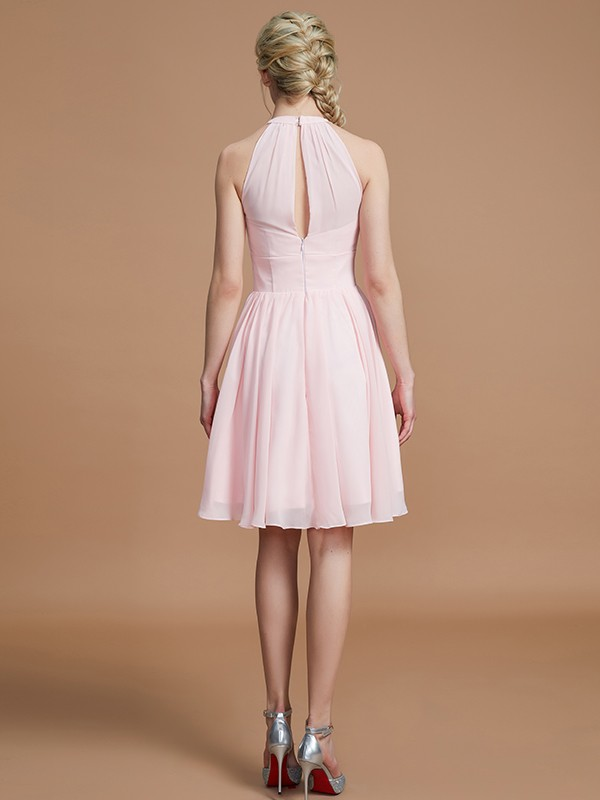 Gorgeous A-Line Chiffon Knee-Length Sleeveless Scoop Bridesmaid Dress