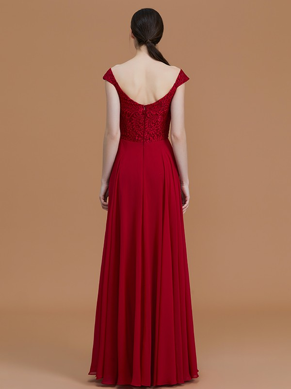 Amazing A-Line V-neck Sleeveless Floor-Length Lace Chiffon Bridesmaid Dress