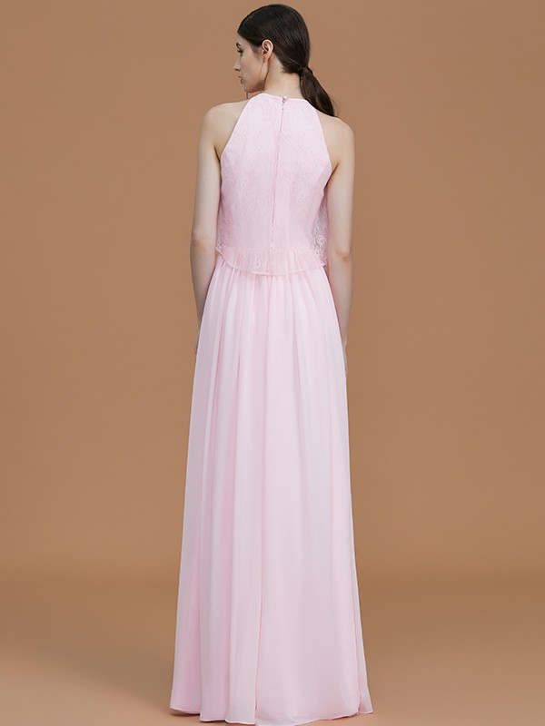 Beautiful A-Line Halter Sleeveless Floor-Length Chiffon Bridesmaid Dress
