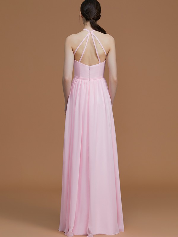 Amazing A-Line Halter Sleeveless Floor-Length Chiffon Bridesmaid Dress