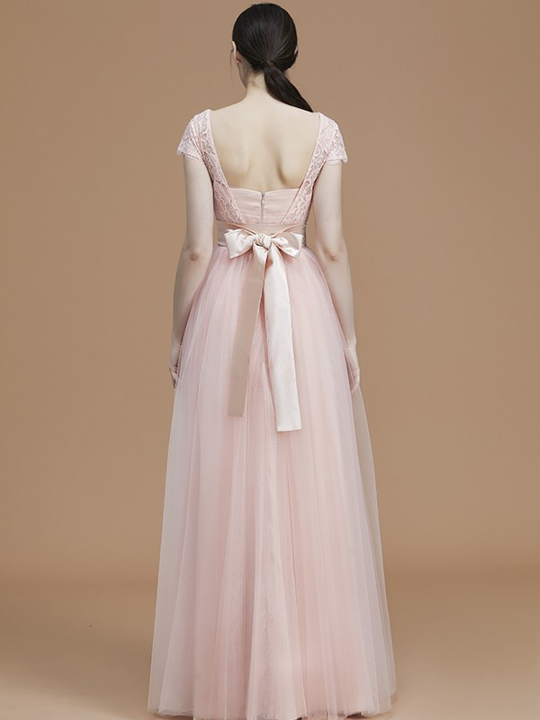 Perfect A-Line Bateau Short Sleeves Floor-Length Tulle Bridesmaid Dress