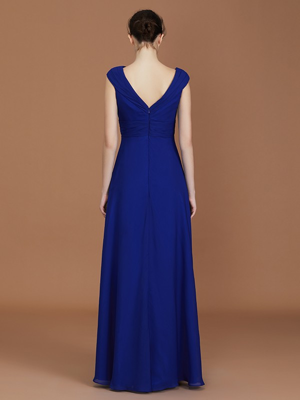 Amazing A-Line V-neck Sleeveless Floor-Length Chiffon Bridesmaid Dress