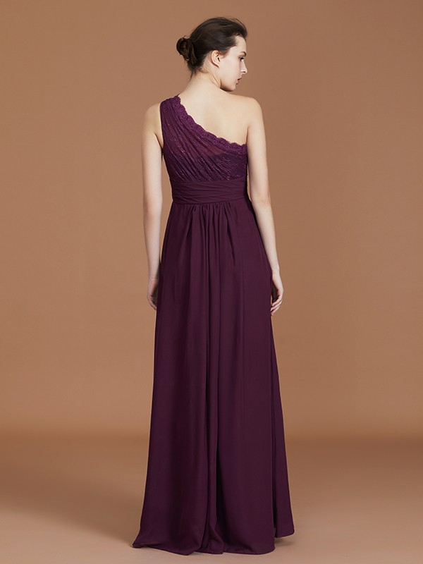 Stunning A-Line One-Shoulder Lace Chiffon Sleeveless Floor-Length Bridesmaid Dress