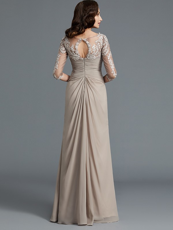 Gorgeous A-Line 1/2 Sleeves Scoop Chiffon Floor-Length Mother of the Bride Dress