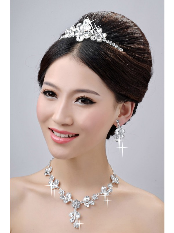 Elegant Awesome Alloy Clear Flower Wedding Headpiece Necklaces Earrings Set