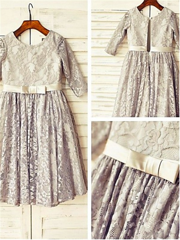 Stunning A-line Scoop 3/4 Sleeves Tea-length Lace Flower Girl Dress