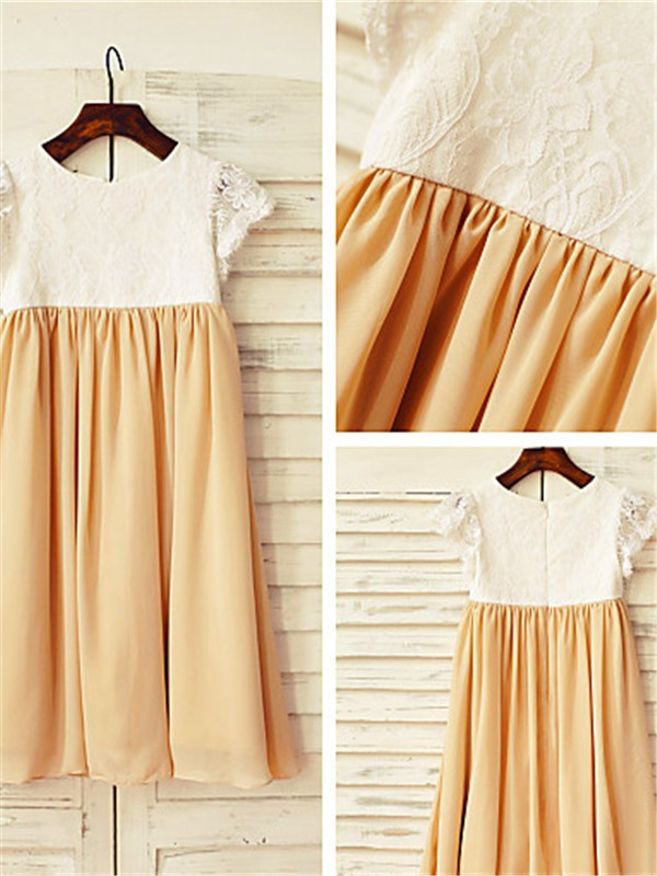 Stunning A-line Scoop Short Sleeves Tea-length Chiffon Flower Girl Dress