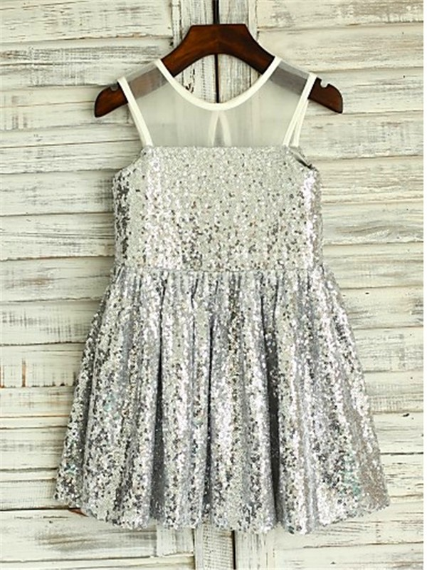 Stunning A-line Scoop Sleeveless Tea-length Sequins Flower Girl Dress