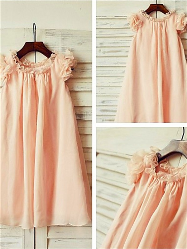 Cheap A-line Scoop Short Sleeves Tea-Length Chiffon Flower Girl Dress
