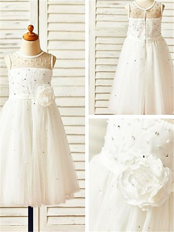 Charming A-line Scoop Sleeveless Tea-Length Tulle Flower Girl Dress