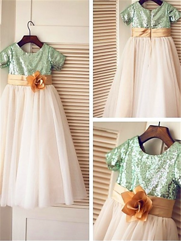 Gorgeous A-line Short Sleeves Scoop Tea-Length Tulle Flower Girl Dress