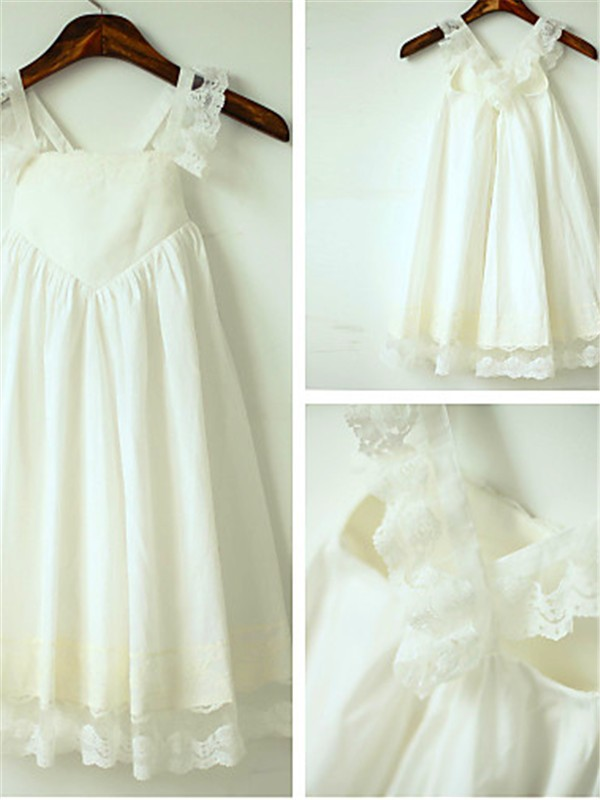 Charming A-line Straps Sleeveless Tea-Length Chiffon Flower Girl Dress