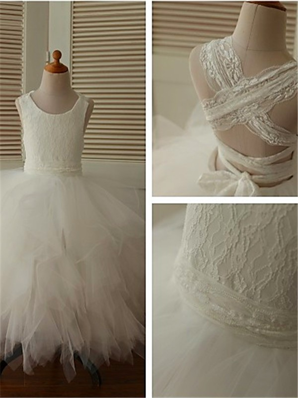 Gorgeous Ball Gown Scoop Sleeveless Lace Floor-Length Organza Flower Girl Dress