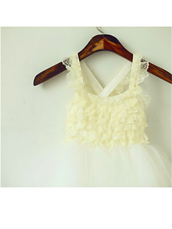 Beautiful Ball Gown Square Sleeveless Layers Tea-Length Tulle Flower Girl Dress