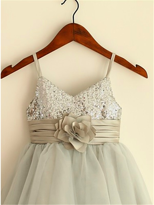 Chic Princess Spaghetti Straps Sleeveless Tea-Length Tulle Flower Girl Dress