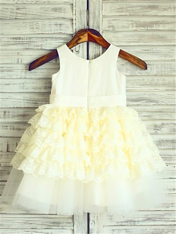 Gorgeous Ball Gown Scoop Sleeveless Layers Tea-Length Lace Flower Girl Dress