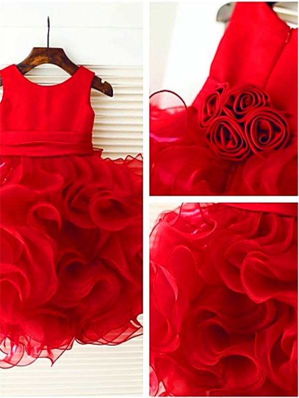 Exquisite Ball Gown Scoop Sleeveless Layers Knee-Length Organza Flower Girl Dress
