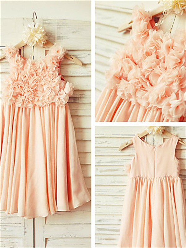 Affordable A-line Straps Sleeveless Tea-length Chiffon Flower Girl Dress