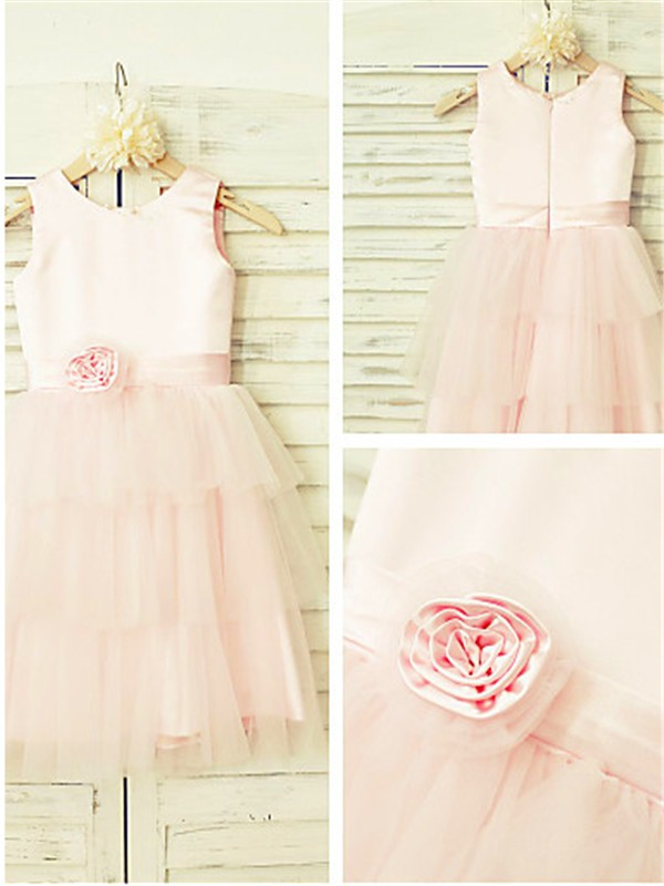Gorgeous A-line Scoop Tea-length Tulle Flower Girl Dress
