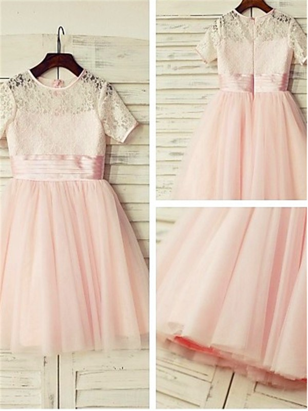 Perfect A-line Jewel Short Sleeves Lace Tea-length Tulle Flower Girl Dress